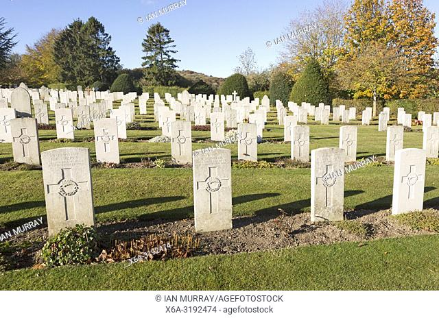 Rows of gravestones at Tidworth military cemetery, Tidworth, Wiltshire, England, UK