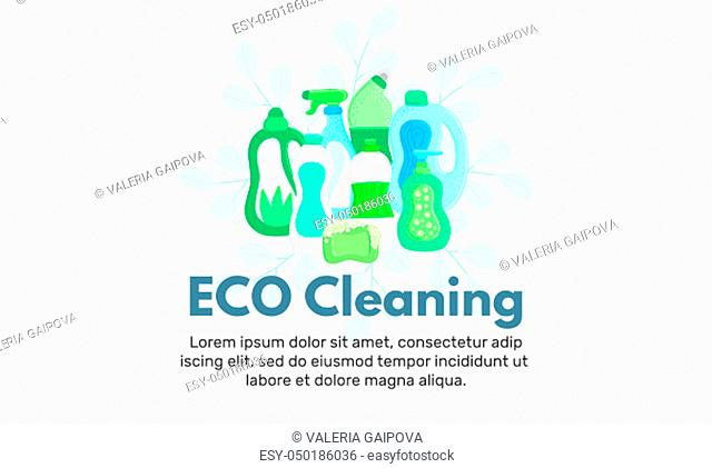 Vector background with eco friendly household cleaning supplies. Natural detergents. Landing page template. Products for house washing. Green home