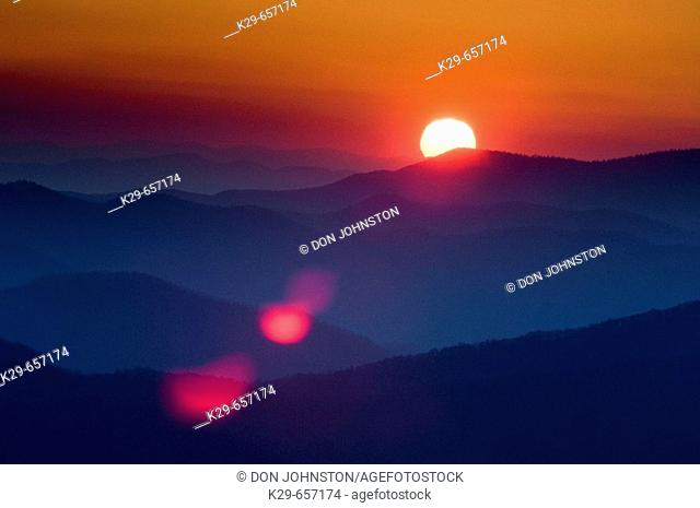 Sunrise over North Carolina mountain ranges. Clingman's Dome, Great Smoky Mountains National Park USA