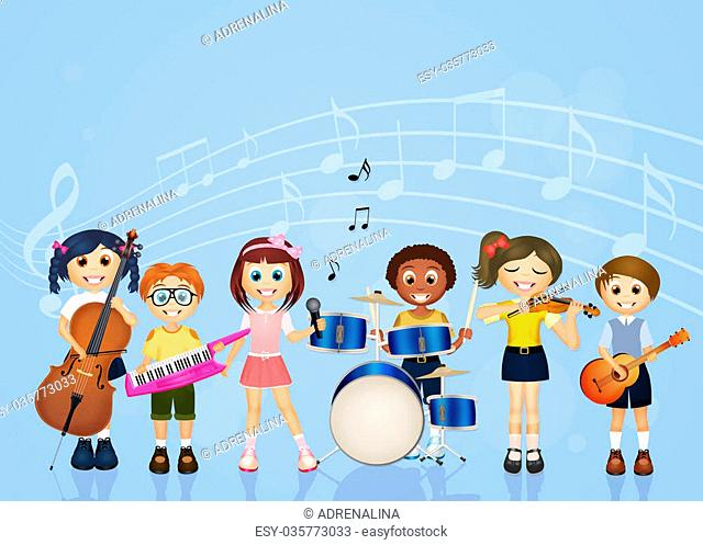illustration of children playing music