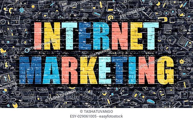Internet Marketing Concept. Internet Marketing Drawn on Dark Wall. Internet Marketing in Multicolor. Internet Marketing Concept