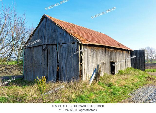 Old Damaged Barn, Hesse, Germany, Europe,