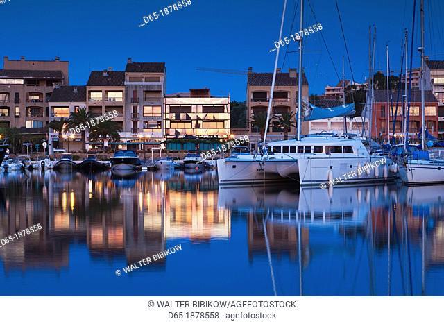 France, Corsica, Corse-du-Sud Department, Corsica South Coast Region, Porto Vecchio, marina, dawn