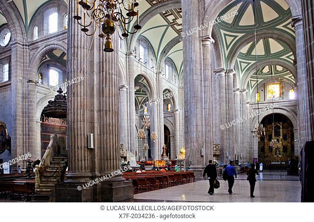 Inside the Metropolitan Cathedral, in Plaza de la Constitución, El Zocolo, Zocola Square, Mexico City, Mexico