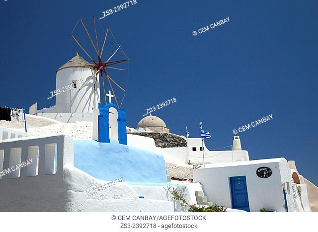 Traditional windmill used as hotel in Oia town, Santorini, Cyclades Islands, Greek Islands, Greece, Europe