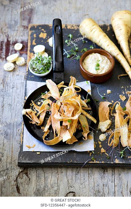 Fried parsnip strips with cucumber mayo