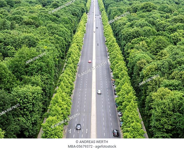 Road stretching from Victory Column, trees of park Tiergarten, seen from top of Victory column, Berlin, Germany