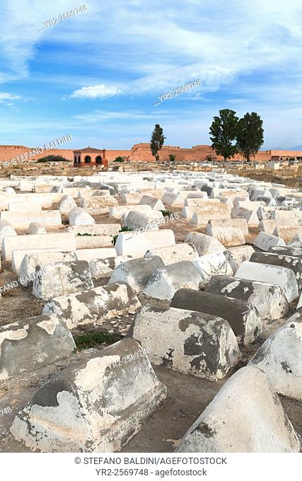 Jewish cemetery in the Mellah, the jewish quarter, Marrakech, Morocco