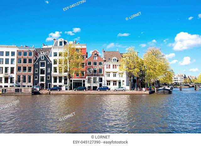 Amsterdam cityscape in early spring during sunny day. The Netherlands