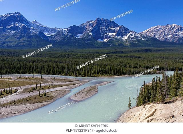 Athabasca River with glacial meltwater carrying rock flour in front of the Rocky Mountains, Jasper National Park, Alberta, Canada