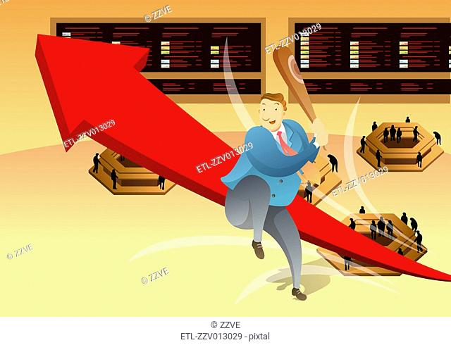 Elevated view of businessman sitting on arrow