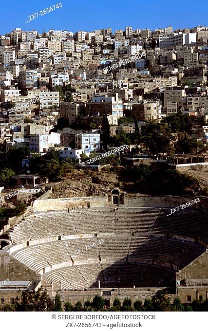 Roman amphitheatre in Amman, Jordan. 2nd century AD Antonius Pius