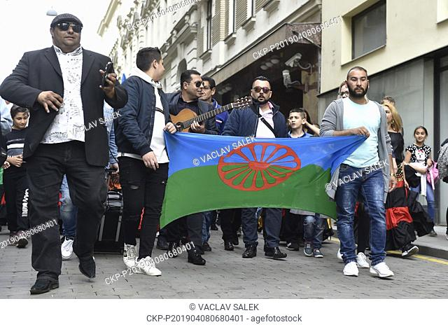 People attend Roma Pride march organised within Week of Roma Culture, on International Romani Day, April 8, 2019, in Brno, Czech Republic