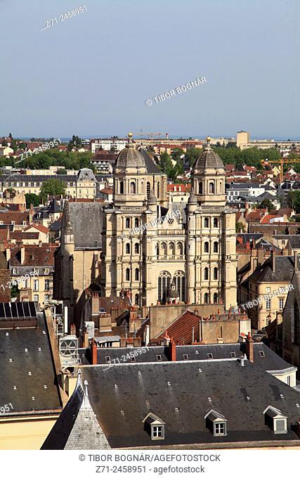 France, Bourgogne, Dijon, St-Michel Church, aerial view
