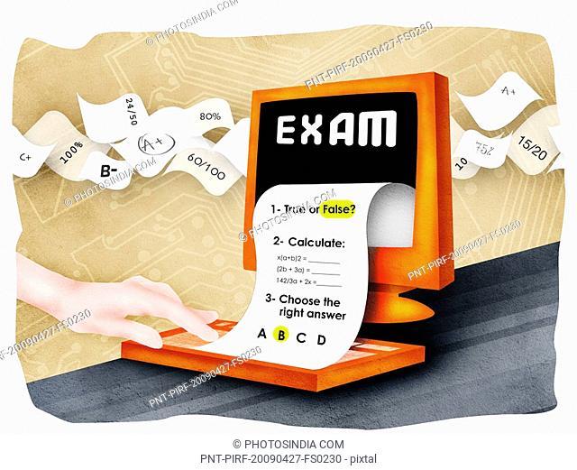Exam paper with desktop PC