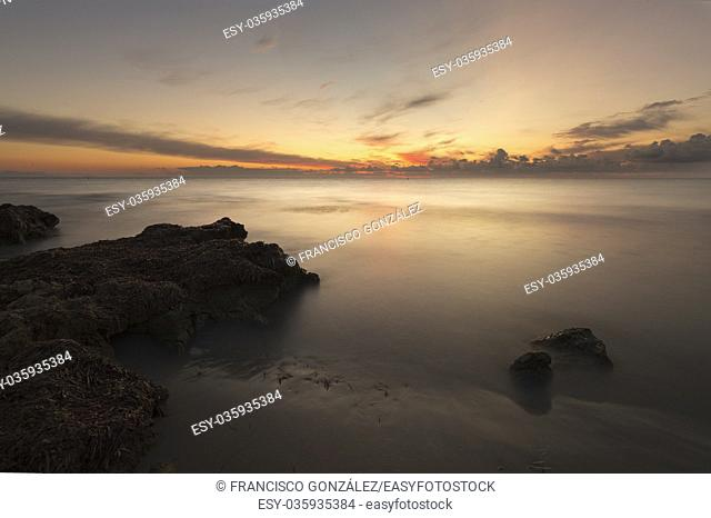 Sunrise on a beach in Santa Pola, Alicante province, Spain
