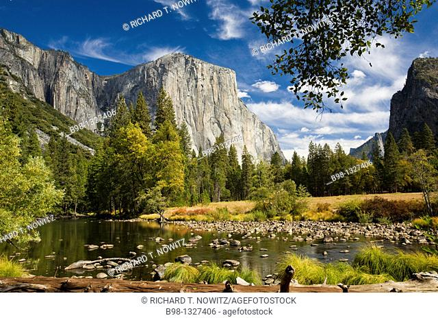 Yosemite National Park, California  Merced River with El Capitan and the Cathedral Rocks