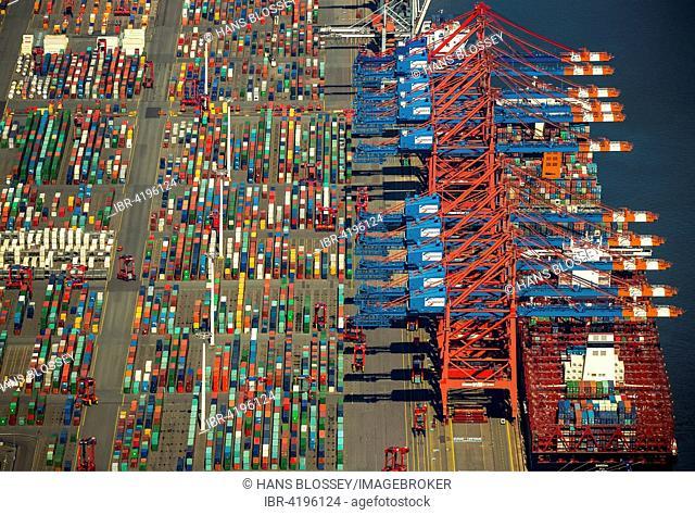 Container loading, container gantry cranes, container cranes, containership, container port, CTA, Container Terminal Altenwerder, Port of Hamburg, Hamburg