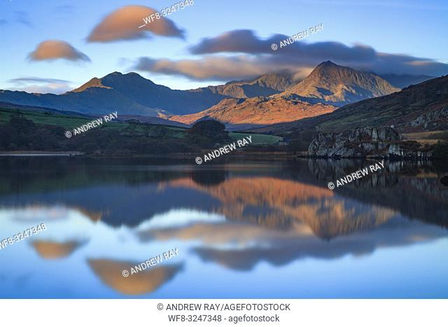 The Snowdon Horseshoe reflected in Llyn Mymbyr near Capel Curig in the Snowdonia National Park
