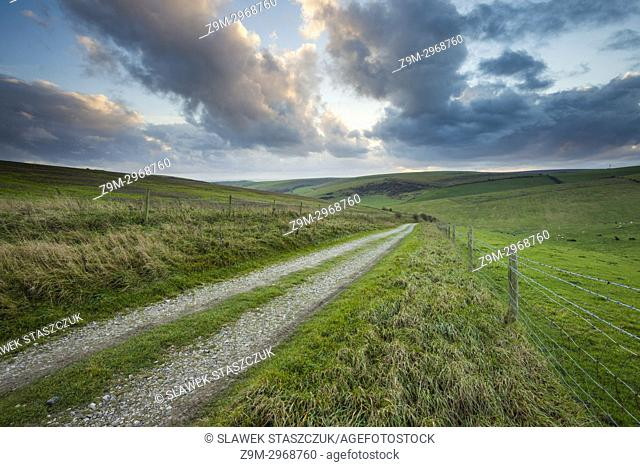 Stormy skies over South Downs National Park, East Sussex, England