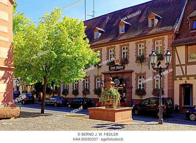 Hotel, restaurant, Three hares, entrance, well, Michel Stadt Deutschland