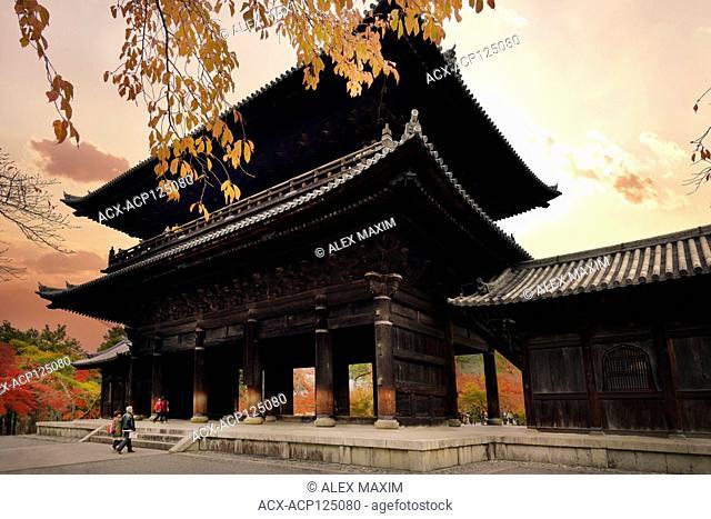 The Sanmon, San-mon, the main gate of Nanzen-ji historic Zen Buddhist temple in Sakyo-ku, Kyoto, Japan 2017