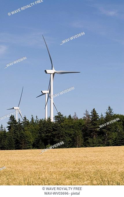 Wind turbines, near East Point, Prince Edward Island