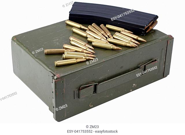 Ammo can with ammunition isolated