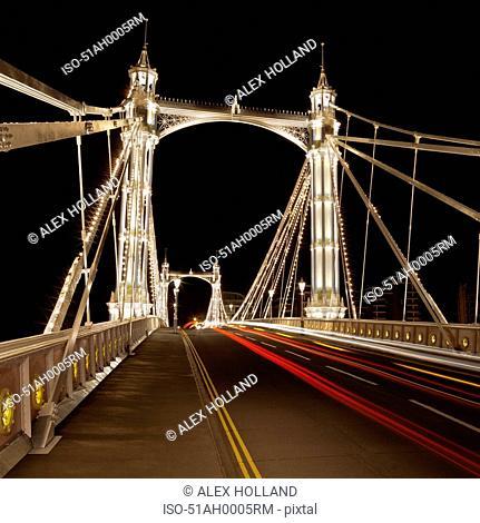 Urban bridge lit up at night