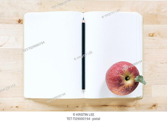Overhead view of pencil and apple in notebook