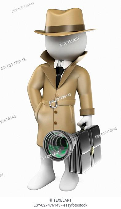 3d white people. Industrial espionage. Detective with a hidden camera. Isolated white background