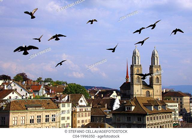 Switzerland, Zurich, panorama and cathedral
