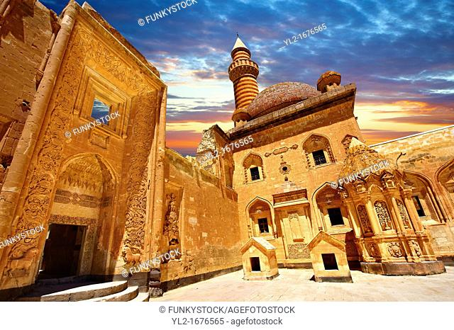 Courtyard of the 18th Century Ottoman architecture of the Ishak Pasha Palace Turkish: Ishak Pasa Sarayi, Agri province of eastern Turkey