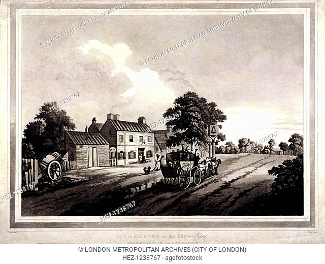 View of the Bell Inn on Edgware Road, London, 1788; with a horse drawn carriage in the foreground