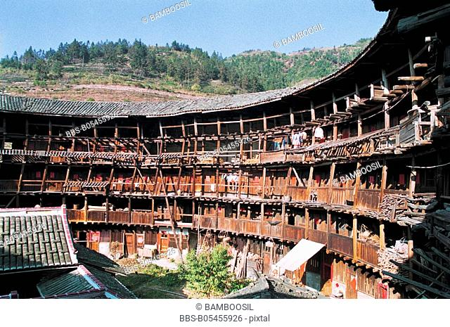 Five-storey structure of Yuchang Earth Tower, Nanjing County, Zhangzhou City, Fujian Province, People's Republic of China