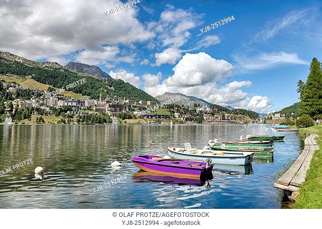 View over Lake St.Moritz with St.Moritz Village in the background, Engadine, Grisons, Switzerland
