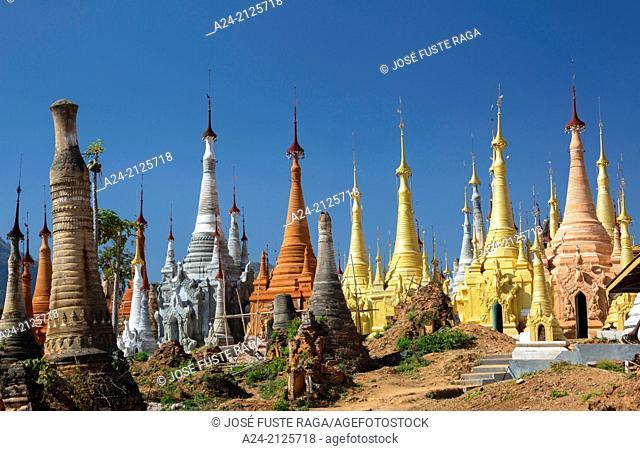 Myanmar , ,Indeinn , Stupas'hill above Inle Lake