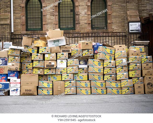 Cardboard boxes, mostly from Chiquita brand bananas, awaiting pick up and recycling in New York