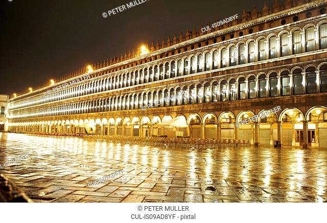 Night time view of St Marks square, Venice, Italy
