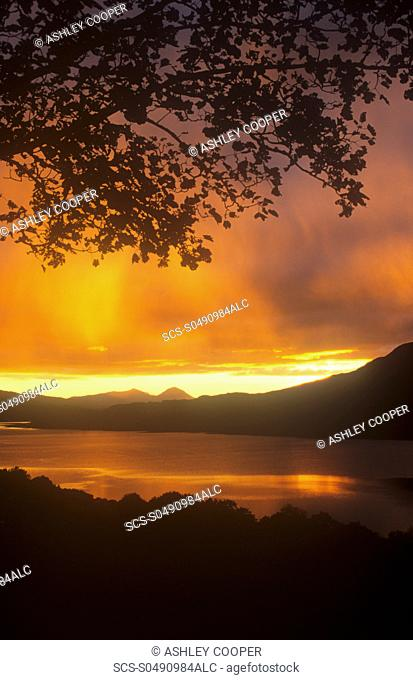 Sunset over Loch Tay in the Scottish highlands, UK