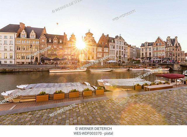 Belgium, Ghent, old town, Korenlei, historical houses at River Leie