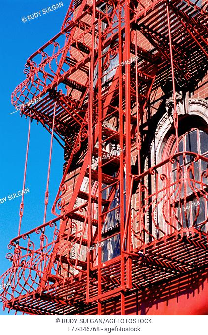 Fire escape on building in New York City, USA