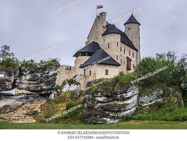 View on 14th century completely restored castle in Bobolice village, part of the Eagles Nests castle system in Silesian Voivodeship of southern Poland