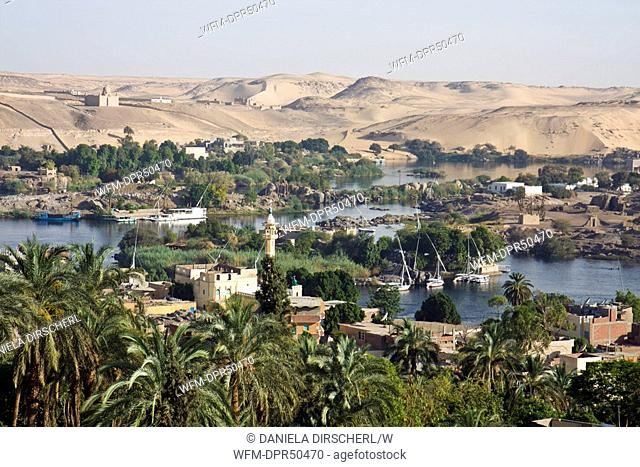 View on Nile River Landscape of Aswan and Elephantine Island, Aswan, Egypt