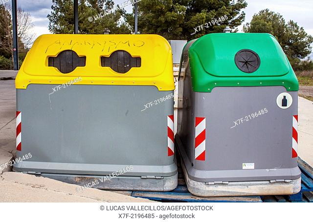 Containers of plastic and glass for waste separation,recycling center