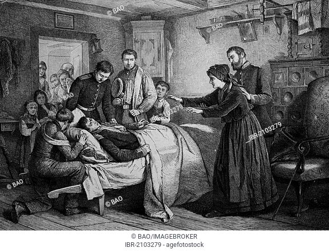 Injured recruit is back at his blind mother's house, wood engraving, about 1880