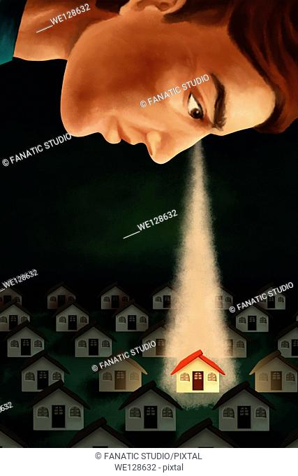 Illustrative image of man keeping an eye on house representing real estate business