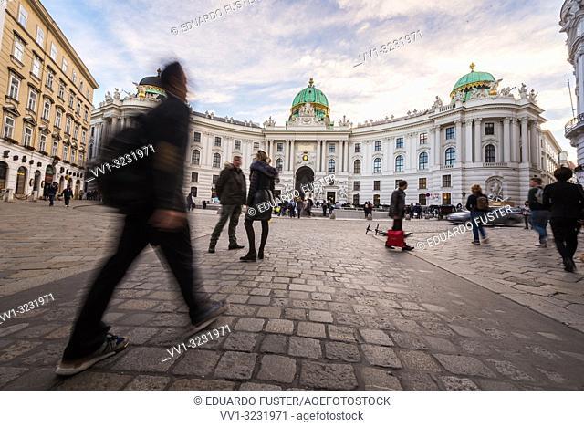 Austria, Vienna, Michaelerplatz, view of the Vienna Hofburg palatial complex