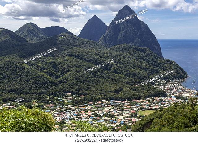 St. Lucia. The Two Pitons behind Soufriere