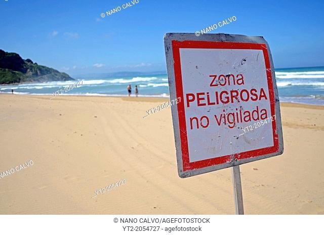 Warning sign on Vega Beach (Playa de Vega), Ribadesella, Asturias